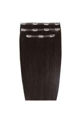 "16 "" Deluxe Remy Instant Clip-In Extensions - Ebony Black 1B"