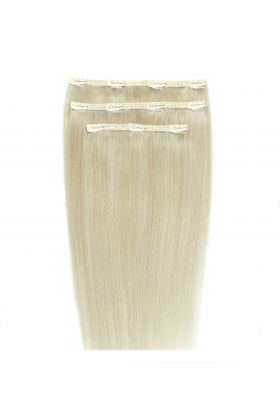 """18"""" Deluxe Remy Instant Clip-In Extensions - Pure Platinum 60a"""