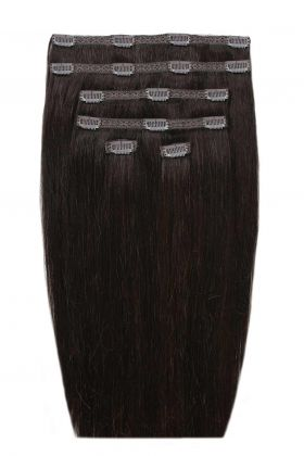 """18"""" Double Hair Set - Ebony Black 1B"""