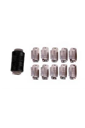 Black Weft Hair Extension Clips - 10 Pieces
