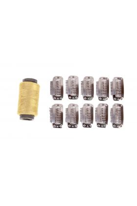Blonde Weft Hair Extension Clips - 10 Pieces