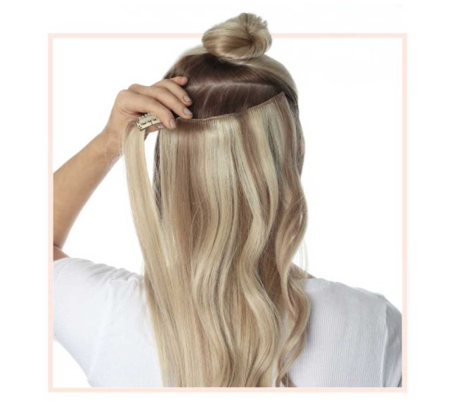 Clip in extensions application guide model photo